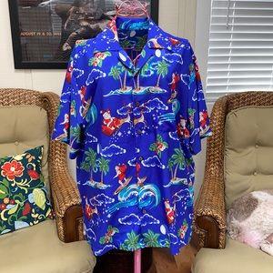 Tropical Surfing Santa Holiday Shirt